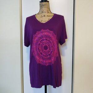 GAIAM Purple Mandala V Neck Tee Shirt Medium